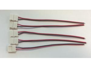 5x 10mm 5050 LED Light Strip to Wire Connector PCB Adapter 2 Pin Single Color by Autolizer