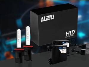 Aliens H11/H8/H9 10K 35W Slim Digital Ballast HID Xenon Conversion Kit Single Beam For Headlights or Fog Lights - 10000K - Deep Blue - Metal Case & Compact Size