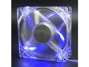 autolizer sleeve bearing 80mm silent cooling fan for computer pc cases  high airflow, quite, and transparent clear blue quad 4leds  2 years warranty