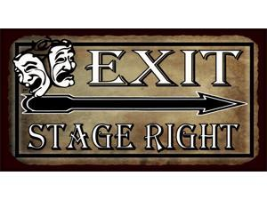 Exit Stage Right Comedy Tragedy Masks Vintage Metal Theater Tin Sign
