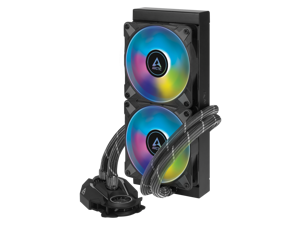 ARCTIC ACFRE00093A Liquid Freezer II 240 A-RGB - Multi-Compatible All-in-one CPU AIO Water Cooler with A-RGB, Compatible with Intel & AMD, efficient PWM-Controlled Pump, Fan Speed: 200-1800 RPM -Black
