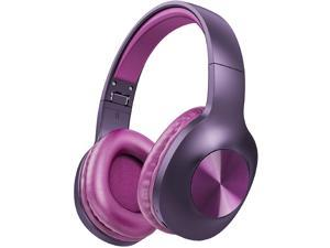 LETSCOM H10 RED PURPLE Bluetooth 5.0 Headphones Over Ear with Deep bass, Hi-Fi Sound and Soft Earpads, Built-in Mic