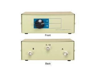 Kentek BNC 2 Way Manual Data Switch Box Female I/O AB Port for Coaxial BNC interface Video Display Monitors