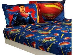 Superman Full Sheet Set 4pc Super Steel Bedding Accessories