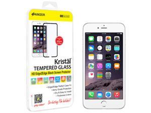 Amzer Kristal Tempered Glass HD Edge2Edge Black Screen Protector for iPhone 6 Plus (Fit All Carriers)