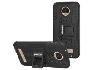 AMZER Impact Resistant Hybrid Warrior Case with Kickstand for Motorola Moto Z Play