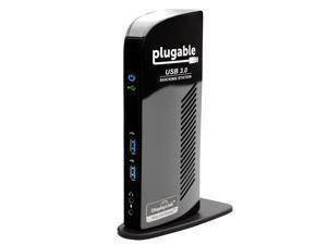 Plugable USB 3.0 Universal Laptop Docking Station Dual Monitor for Windows and Mac (Dual Video: HDMI and DVI/VGA/HDMI, Gigabit Ethernet, Audio, 6 USB Ports)