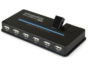 Plugable USB Hub, 10 Port - USB 2.0 with 20W Power Adapter and Two Flip-Up Ports