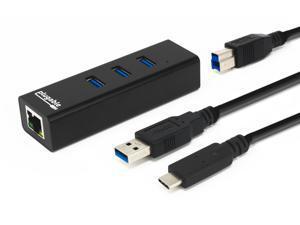 Plugable Travel USB Hub and Network Adapter - 3-Port USB 3.0, 1-Port Ethernet