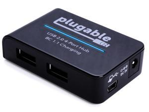 Plugable USB 2.0 4-Port High Speed Hub with 12.5W Power Adapter.