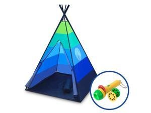 Kids Teepee Tent for Girls or Boys - Indoor Outdoor Beach Play Tent, Collapsible Baby Toddler Tent w/ Safari Flashlight Projector & Tote (Blue)