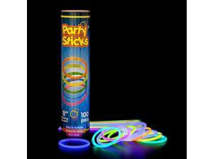 "Glow Sticks - 100 Count Long Lasting 8"" Premium Glow Bracelets"