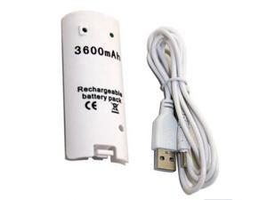 3600mAH Rechargeable Battery Charger Cable for Nintendo Wii Remote Controller