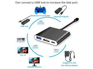 OSTENT HDMI Type C Hub Adapter USB 3.0 Converter Dock Cable Cord for Nintendo Switch