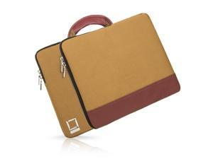 Divisio Laptop Carrying Sleeve / Briefcase fits 13.3 inch Laptops (Tan/Wine)