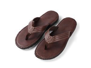 Aerusi Rio Men's PU Leather Flip-Flop Sandals Size 9 Dark Brown