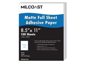 "Milcoast Full Sheet 8.5"" x 11"" Matte Adhesive Sticker Paper Labels for Laser/InkJet Printers (100 Full Sheet)"