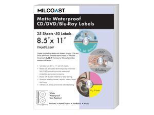 Milcoast Matte Waterproof Tear Resistant White Blank DIY Adhesive CD / DVD / Blu-ray Disc Labels - For Laser/Inkjet Printers - 50 Label Sets (25 Sheets)