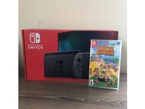 2019 New Nintendo Switch Gray Joy-Con Improved Battery Life Console Bundle with Animal Crossing: New Horizons