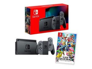 2019 New Nintendo Switch Gray Joy-Con Improved Battery Life Console Bundle with Super Smash Bros. Ultimate