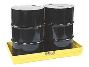 Eagle Mfg - 1631 - Eagle 26 1/4 X 51 1/2 X 6 1/2 Yellow HDPE 2-Drum Modular Spill Containment Budget Basin With 34