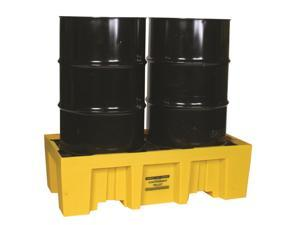 Eagle Mfg - 1620 - Eagle Yellow High Density Polyethylene 4000 lb 66 gal Spill Pallet - Supports 2 Drums - 26 1/4 in