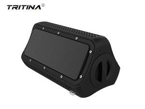 Tritina Waterproof Portable Speaker with Mic, Built-in Smartphone Power backup, Dual Driver Enhanced Bass,water Resistant for shower - Black