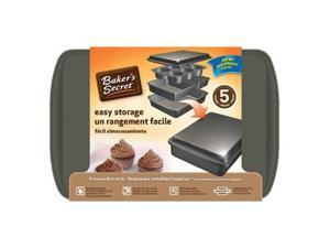 Bakers Secret Easy Store 5 piece set includes-6 cup Muffin Pan, 9in x13in Oblong, 8in Square Cake Pan, Medium Loaf Pan, Small Cookie Sheet