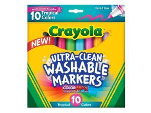 Crayola 10 ct. Ultra-Clean Washable Tropical, Broad Line, Color Max Markers 58-7856