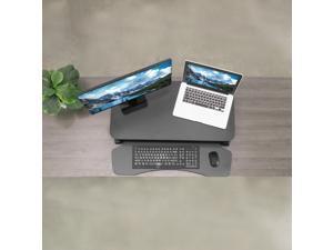 """VIVO Black Height Adjustable Standing Desk Monitor Riser 32"""" Sit Stand Workstation Tabletop (DESK-V000K)"""
