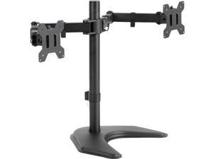 """VIVO Dual Monitor Free Standing Desk Mount Stand Heavy Duty Fully Adjustable fits two Screens up to 27"""" (STAND-V002F)"""