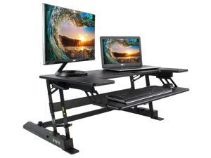 VIVO Height Adjustable Standing Desk Monitor Riser Tabletop Sit to Stand (Black)