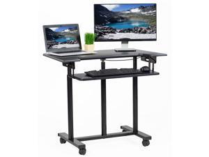 "VIVO Mobile Height Adjustable Stand Up Desk Cart with Sliding Keyboard Tray | Rolling Workstation 35"" (CART-V06A)"