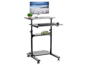 VIVO Black Mobile Height Adjustable Stand Up Desk | Computer Workstation Rolling Presentation Cart (CART-V02DB)