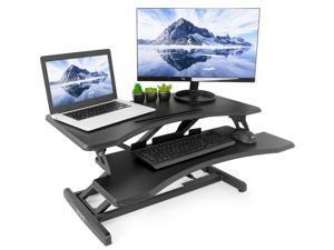 """VIVO Small Height Adjustable Standing Desk Workstation   Monitor Riser 30"""" Sit Stand Tabletop Converter (DESK-V000M)"""