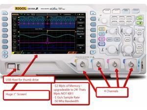 Rigol DS1054Z Digital Oscilloscopes - Bandwidth: 50 MHz, Channels: 4 Serial Decode Included