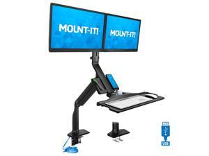 Mount-It! Dual Monitor Sit Stand Workstation with Gas Spring Arm | Height Adjustable Standing Desk Converter | 2 Integrated USB 3.0 Ports | VESA 75 100