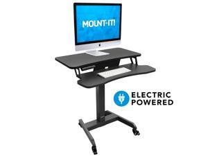 Mount-It! Electric Mobile Height Adjustable Standing Workstation with Wheels   Programmable Height Adjustment Controller   31.5 x 14.5 Inch Tabletop