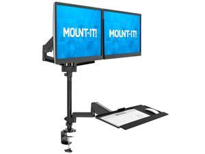 Mount-It! Dual Monitor Sit-Stand Desk Mount with Keyboard Tray