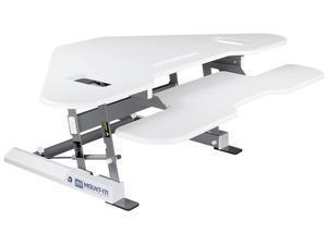 "Mount-It! Corner Standing Desk Converter   Height Adjustable 48"" Wide Desktop   Corner Stand Up Desk with Gas Spring Handle   White"