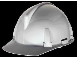 Msa Front Brim Hard Hat, 4 pt. Ratchet Suspension, White, Hat Size: 6-1/2 to 8