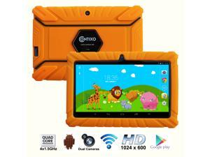 Contixo 7 Inch Quad Core Android 4.4 Kids Tablet, HD Display 1024x600, 1GB RAM, 8GB Storage, Dual Cameras, Wi-Fi, Kids Place App & Google Play Store Pre-installed, Kid-Proof Case (Orange)