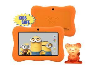 """Contixo Kids Safe 7"""" Quad-Core Android 4.4 Tablet, 8GB Storage, Bluetooth, Wi-Fi, Dual Camera and 20+ Free Games, HD Edition w/ Kids-Place Parental Control Pre-Installed, Kid-Proof Case (Orange)"""