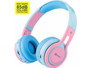 Contixo KB-2600 Kid Safe 85dB Over The Ear Foldable Wireless Bluetooth Headphone with Volume Limiter, Built-in Micro Phone, Micro SD Card Music Player, FM Stereo Radio, Blue+Pink