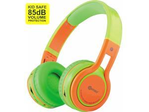 Contixo KB-2600 Kid Safe 85dB Over The Ear Foldable Wireless Bluetooth Headphone with Volume Limiter, Built-in Micro Phone, Micro SD Card Music Player, FM Stereo Radio, Green + Orange