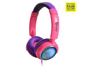 Contixo KB 300 Kids Bluetooth Wireless Headphones | 85db Volume Limiting, Microphone, MicroSD Card Player, Wired 3.5mm AUX Cable, Music Streaming, Colorful LED Lights (Purple + Pink)