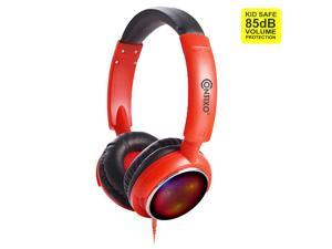 Contixo KB 300 Kids Bluetooth Wireless Headphones | 85db Volume Limiting, Microphone, MicroSD Card Player, Wired 3.5mm AUX Cable, Music Streaming, Colorful LED Lights (Red/Black)