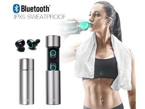 Contixo B1 True Wireless Earbuds Bluetooth 5.0 Headphones, Sports in-Ear TWS Stereo Mini Headset w/Mic Extra Bass IPX5 Sweatproof Low Latency Instant Pairing Charging Case Noise Cancelling Earphones