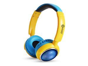 Contixo KB 300 Kids Bluetooth Wireless Headphones | 85db Volume Limiting, Microphone, MicroSD Card Player, Wired 3.5mm AUX Cable, Music Streaming, Colorful LED Lights (Blue + Yellow)