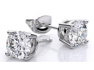 Diamond Princess Luxurious 1 Ctw  Natural Solitaire Diamond (G-H,I1-I2) Earrings In 14K White Gold
